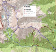 Bent Creek Trail Map 14ers Com U2022 Mt Columbia Route Description Southeast Ridge