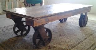 Wooden Coffee Table With Wheels by Hand Made Coffee Table With Iron Industrial Wheels By The Farm At
