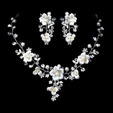 silver bridal necklace images Crystal porcelain pearl jewelry necklace earrings 2 colors jpg