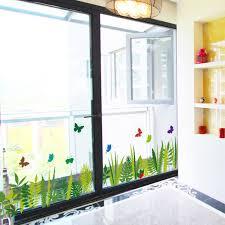 diy wall stickers home decor green grass butterfly corner