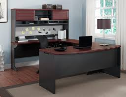 U Shaped Gaming Desk by Amazon Com Altra Pursuit Credenza And Hutch Bundle Cherry Gray