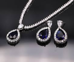 blue sapphire silver necklace images Bs5117 gorgeous bling blue sapphire aaa cz 925 sterling silver jpg