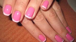 pink french manicure pink and white tips nails light pink base