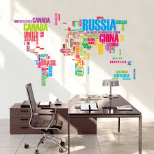 Map Letters Colorful Letters World Map Wall Stickers Living Room Home
