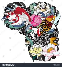 traditional japanese tattoo design upper arm stock vector