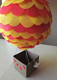 air balloon centerpiece with large basket diy