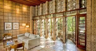 frank lloyd wright millard house high ceiling living doors to