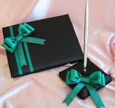 black wedding guest book jade and black wedding accessories wedding guest book and pen set