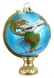 travel globe with airplane ornament by kurt adler traditions