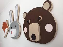 Woodland Animal Nursery Decor by Animal Head Nursery Decor Bear Bunny Fox Faux Taxidermy