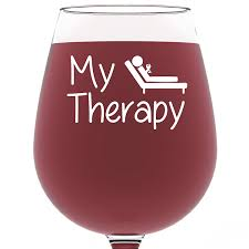wine birthday gif amazon com my therapy funny wine glass 13 oz best birthday