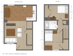 Townhome Floor Plan by 162 168 E 12th U2013 2 Bedrooms U2013 University Manors