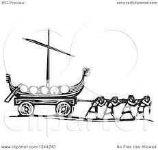 clipart of black and white woodcut people pulling a viking dragon