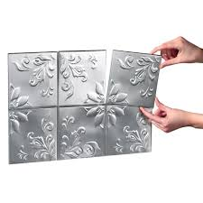 amazon com tin peel u0026 stick raised floral pattern backsplash
