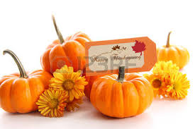 Small Pumpkins Small Pumpkins With Chrysanthemums And Table Card Stock Photo