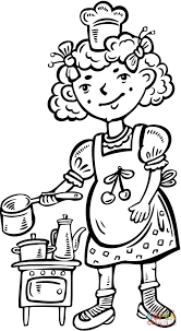 child playing chef in the kitchen coloring page free printable