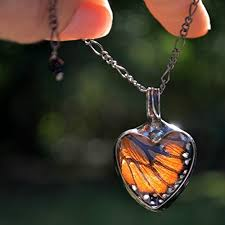 glass butterfly necklace images Monarch butterfly necklace glass heart jewelry jpg