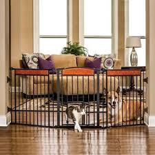 paw arched flexi pet gate chew proof in black steel frame home