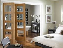 Interior Folding Glass Doors Oak 4 Light Clear Glass Folding Door Contemporary