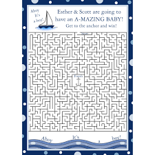 24 personalized baby shower maze game cards ahoy its a boy