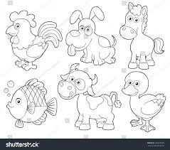 illustration farm animals cartooncoloring book stock vector