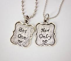 her story necklace images Her one only the original hand stamped couple necklace set at cute jpg