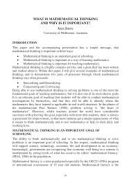 what is mathematical thinking and why is it important pdf