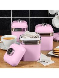 swan products retro storage kitchen canisters pink set of 3