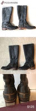 s ugg black leather ugg black leather fleeced lined boots s 8 black leather