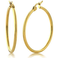 gold hoop earings 1 25 stunning stainless steel yellow gold plated hoop
