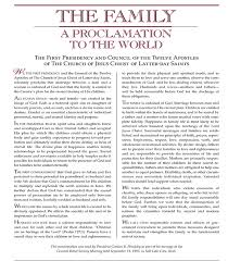 family proclamation the family proclamation a clear standard to the world church