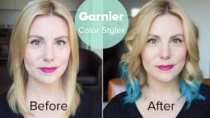 Wash Hair Before Color - tutorial garnier color styler in blue burst before and after