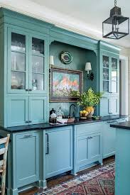 blue kitchen cabinets in cabin blue cabin style kitchen with blue herringbone plank