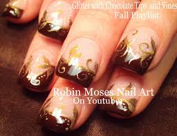diy gold fall filigree nails easy thanksgiving nail design
