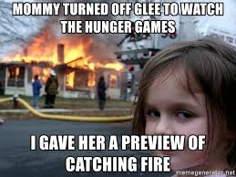 mommy turned off glee to watch the hunger games i gave her a preview