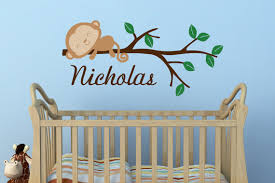 Safari Nursery Wall Decals Boys Monkey Name Wall Decal Jungle Nursery Safari Nursery