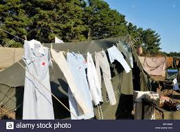 laundry of nurses hanging outside of world war ii first aid tent