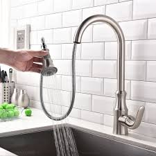 1 Hole Kitchen Faucet Ethan Contemporary Dual Pull Out Sprayer 1 Hole Kitchen Faucet