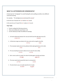all worksheets heteronyms worksheets english printable