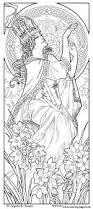 woman art nouveau style coloring pages printable