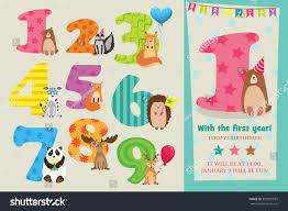 Design Invitation Card For Birthday Party Birthday Anniversary Numbers Cute Animals Birthday Stock Vector