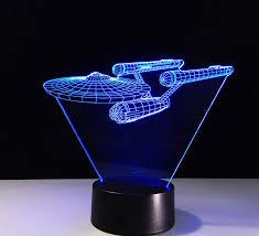 Neon Desk Lamp Creative 3d Spaceship Shape 7 Color Led Night Light Usb Table Desk