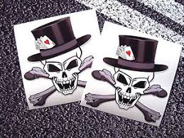 skull vampire with top hat and crossbones playing cards stickers 4