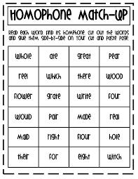 homophone match up pdf first grade reading pinterest