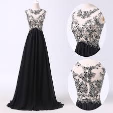 elegant black chiffon long evening dress popular lace plus size