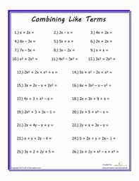 combining like terms worksheet education com