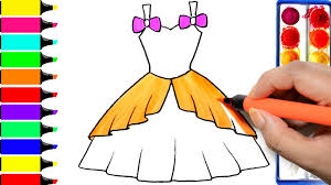 draw barbie dress coloring princess dress learning