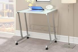 White Desk Glass Top Top Metal Space Saving Desk