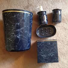 find more 5pc navy blue marble look bathroom accessories soap and