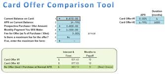Spreadsheet Comparison Tool Compare Card Offers Spreadsheet Moneyspot Org